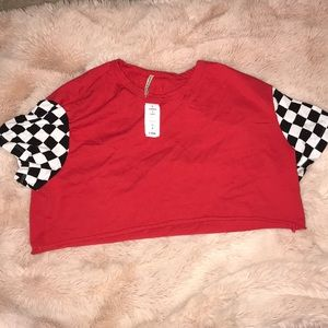 BNWT LF Red Checkered Crop Top